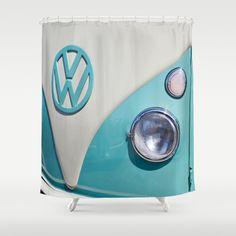 Classic VW Camper Shower Curtain By Alice Gosling   $68.00 #shower  #bathroom #homedecor