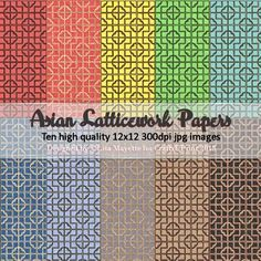 Asian Latticwork Papers by Lisa Mayette A collection of 10 high quality 300dpi 12x12 jpg images in a rainbow assortment of colors featuring an Asian latticework design.