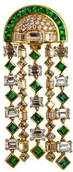 BVLGARI's Art Deco Emerald & Diamond Ear Pendant