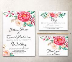 Items similar to Pink Floral Wedding Invitation set, Spring summer Wedding Invitation Suite PRINTABLE, Green pink Peony Boho Wedding Invite on Etsy Mason Jar Wedding Invitations, Wedding Stationery Sets, Spring Wedding Invitations, Printable Wedding Invitations, Floral Wedding Invitations, Invites, Pink Peonies, Etsy, Boho Wedding