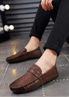 Apr 2020 - Men's retro leather slip on shoe color stripe, penny strap detailing. Mens Slip On Loafers, Leather Loafer Shoes, Leather Slip On Shoes, Loafers Men, Tods Shoes, Shoes Men, Brown Boat Shoes, Loafers Outfit, Mens Fashion Shoes