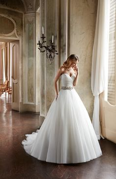 Eddy K. Style EK1096: Sleeveless ballgown with sweetheart neckline and fully beaded belt. Made with organza, available in ivory.