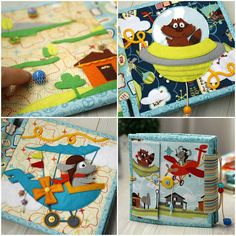 """«Quiet Book """"Little flyers"""" SOLD! 17x17 cm Size of the book. The book consists of five sheets. The book about the kinds of air transport. Five…»"""