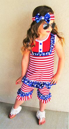 1f6bc90bf50b July 4th Baby Girl Ruffle Stripe Red White Blue Capri Set Outfit