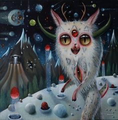Interview: Peca Discusses Her Paintings of Multi-eyed Furry Creatures