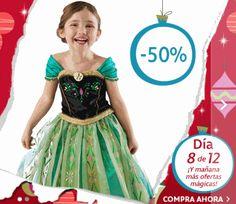 ¡¡Chollo!! Solo HOY 11 de diciembre tenemos un 50% de descuento en el disfraz Anna de Frozen de lujo. Aprovecha y consínguelo solo por 34 euros.