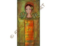 Tall Angel    Print from Painting by FLOR LARIOS 5 x by FlorLarios, $15.00
