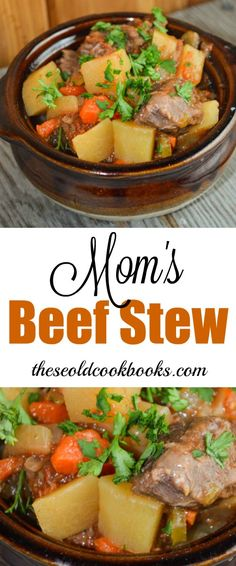 Nothing says comfort food like beef stew. Mom's Crock Pot Beef Stew is hearty, full of flavor and easy to put together for a busy weeknight or a Sunday night family dinner. Slow Cooker Pressure Cooker, Crock Pot Slow Cooker, Slow Cooker Recipes, Crockpot Recipes, Crockpot Dishes, Beef Dishes, All Recipes Chili, Stew Meat Recipes, Ark Recipes