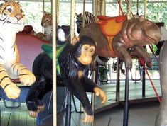 Scovill Zoo Carousel Carousel Works Tiger, Chimpanzee, and Hippo