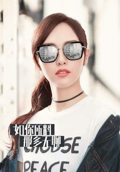 Đường Đường đeo kính. Tiffany Tang Luo Jin, Chinese Actress, Mirrored Sunglasses, Actresses, Stars, Beauty, Beautiful, Instagram, Movies
