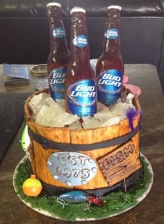 Beer in a Wooden Bucket Cake... Coolest Birthday Cake Ideas