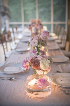 MAG SUBMISSION T a b l e s c a p e s, Pretty pink tablescape with floating candles and pink roses.T a b l e s c a p e s, Pretty pink tablescape with floating candles and pink roses. Diy Wedding, Rustic Wedding, Wedding Flowers, Budget Wedding, Table Wedding, Trendy Wedding, Wedding Colors, Wedding Ideas, Wedding Placecard Ideas