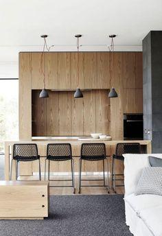 Maison contemporaine bois et beton cuisine