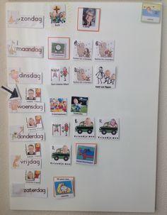 Weekplanning | planbord | magneetbord | gepersonaliseerde magneetkaartjes | De oranje omrande kaartjes hebben klitteband: We hebben van alle familieleden een pasfotootje + van activiteiten die we niet frequent doen & die plakken we in het kadertje. In dit kadertje staat : '.... Is jarig', of '...... komt op bezoek', of 'we gaan naar.........'.