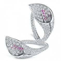 Calla Lily hoop earrings in pave white diamonds by Asprey.