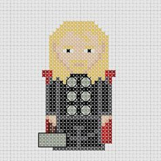 Cross stitch Marvel Avengers Thor with Mjolnir. Possible quilt block.