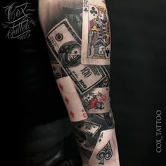 Poker Tattoo With Playing Cards & Money | Best tattoo ideas & designs
