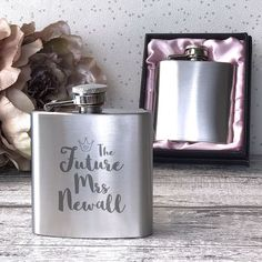 Future Mrs hen party engraved, personalised hip flask gift Wedding Hip Flasks, Wedding Groom, Wedding Bridesmaids, Bridesmaid Gifts, Wedding Gifts, Personalised Hip Flask, Personalized Gifts, Hen Party Gifts, Bride Sister