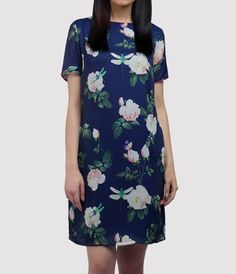 Blue silk printed knee length dress with pockets - buy online India from Ombré Lane