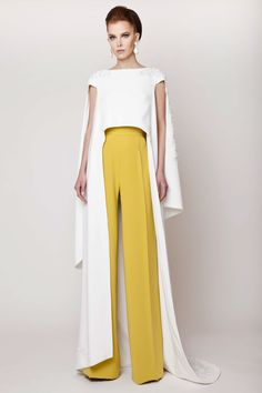 Azzi & Osta Couture SS 2015, Off White Silk Double Layered Crepe Cape, Hand Sequined with Florals and Mustard Wide Legged Pants