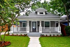 Historic After  Before - craftsman - exterior - dallas - by Creative Architects Craftsman Exterior, Craftsman Style Homes, Craftsman Bungalows, Craftsman Porch, Colonial Exterior, Craftsman Remodel, Cafe Exterior, Restaurant Exterior, Modern Craftsman