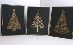 carte de vœux faite maison- sapins filigrane en couleur or