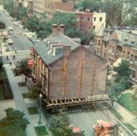 The Lenthall Houses, adjoining brick structures built about 1800, were moved from 19th and G Streets, N.W. in August 1978. It took approximately four hours to move them three blocks to 21st Street. William B. Patram, Inc. (the same guy who moved our historic 1876 synagogue!)  was the mover.
