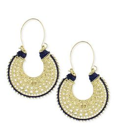 This ZAD Gold Filigree Thread Hoop Earrings by ZAD is perfect! #zulilyfinds