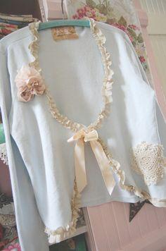 Summer Weight Cotton Sweater Cloud Blue Silk by OfLinenandLace, $54.50