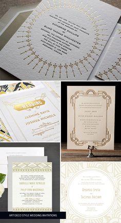 Gold Art Deco Wedding Invitations as seen on invitationcrush.com