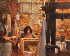"Silk Weaver No. 2 by James Crandall Oil ~ 24"" x 30"""