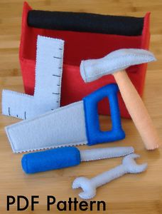 DIY toy boxes | Tool Box Set Hammer Toy Pretend DIY Felt Sewing Pattern | eBay
