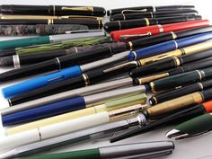 Lot of 25 Vintage Fountain Pens: Lamy Montblanc Geha Pelikan Merlin Rex Artus #Differentbrands