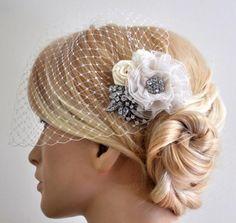 Birdcage Veil (Bandeau style) set with hair  Fascinator (2 Items) , Hair Accessory,wedding veil, Bridal hair piece ,