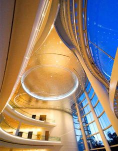 View of the illuminated interior lobby ceiling at Renée and Henry Segerstrom Concert Hall, Segerstrom Center for the Arts in Costa Mesa, CA.