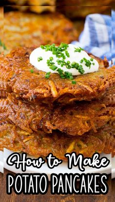 These potato pancakes are shredded potatoes combined with onions and seasoning, then pan fried until golden brown. Tasty Pancakes, Potato Pancakes, Side Dishes Easy, Side Dish Recipes, Easy Recipes, Seared Pork Chops, Matzo Meal, Homemade French Fries, Potato Fritters