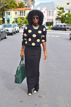 Polka Dot Oversize Sweater + Maxi Pencil Skirt... this look is fantastic and she looks fantastic in it