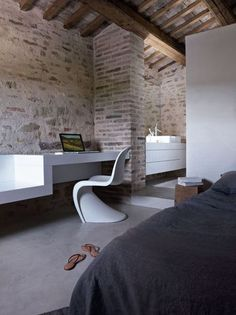 Casa Olivi renovation, Italy, designed by Markus Wespi and Jerome de Meuron Architects :: Panton Chair by Verner Panton