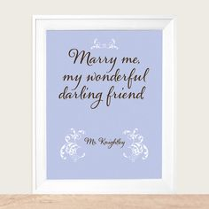 Items similar to Jane Austen Mr. Knightley's Proposal to Emma, Marry Me My Wonderful Darling Friend Art Print - Available Sizes: on Etsy Anniversary Dates, Wedding Anniversary, Ever After, Emma Jane Austen, Becoming Jane, Pride And Prejudice, Hopeless Romantic, Marry Me, Book Worms