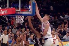 Knicks rookie, Kristaps Porzingis went for a putback that ended up posterizing LaMarcus Aldridge.