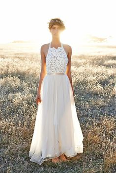 Halter neck, alternative boho wedding dress | www.onefabday.com | #boho #weddingdress