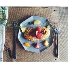 #シェアInstagram 蜂蜜が食べたくてチーズパンケーキを製作 #KIKOF #HM #fruit #Saturday #happiness #濃厚 #lovelyday #pancake #cooksono