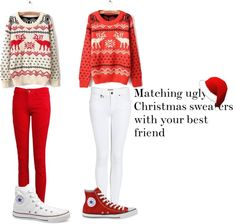 """""""Matching ugly Christmas sweaters for you and your BFF :D"""" by jessie-michelle ❤ liked on Polyvore"""