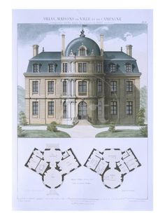 'Design from 'Town and Country Houses Based on the Modern Houses of Paris', C.1864 (Colour Litho)' Giclee Print - Leblanc | Art.com European House Plans, Vintage House Plans, Country House Plans, Modern House Plans, Town And Country, Small House Plans, House Floor Plans, Country Houses, Modern Houses