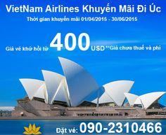 VietNam Airlines Khuyến Mãi Đi Úc Giá Vé Khứ Hồi Từ 400USD
