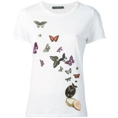 Alexander McQueen butterfly and moth print t-shirt (15.760 RUB) ❤ liked on Polyvore featuring tops, t-shirts, white, butterfly t shirt, skull t shirt, short sleeve t shirts, cotton tee and skull tee