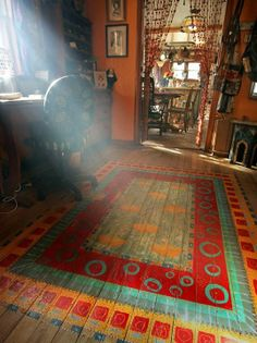 Hand Painted Floor Rug! Love this idea!!