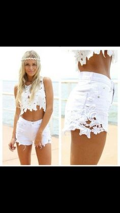 love the white cropped flower lace shirt :) would love to have those one too