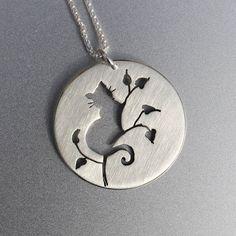 Silver Jewelry, Silver Pendant, Silver Jewellery, Cat Jewelry, Cat Pendant, Cat in Tree Pendant.