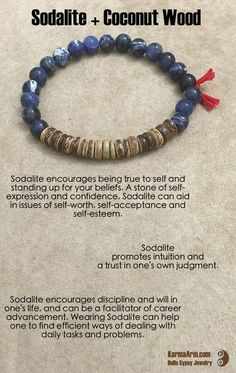 DISCIPLINE: Sodalite Coconut Wood # Mala # Bead Wearing during the day can help one to find efficient ways of dealing with daily tasks and problems. Crystals And Gemstones, Stones And Crystals, Natural Gemstones, Yoga Bracelet, Chakra Bracelet, Bracelets For Men, Beaded Bracelets, Healing Bracelets, Leather Bracelets